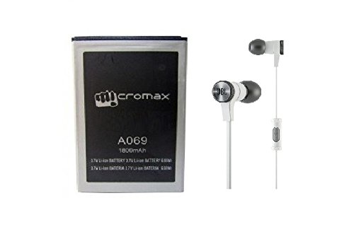 Genric Micromax OEM battery and Synchros E10 Stereo In-Ear Headphones With Mic for Micromax A069-1800 mAh (Black)