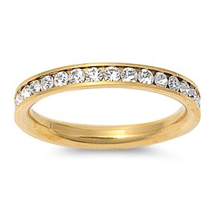 STR-0023 316L Gold IP Stainless Steel Eternity CZ Wedding Band Ring 3mm Sz 3-10; Comes With FREE Gift Box (8)