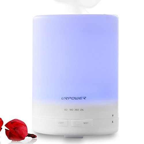 300ml Perfume Essential Oil Diffuser,URPOWER® Ultrasonic Air Humidifier with AUTO Shut off and 6-7 HOURS Continuous Diffusing - 7 Color Changing LED Lights and 4 Timer Settings for Make clear SPA Baby Room