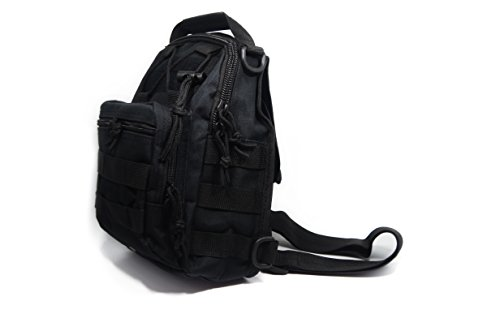 DoubleVillages Militare MOLLE EDC Tattico Uomo Borsa -borsello tracolla uomo Borsa a Tracolla / borsello Petto Uomo / Borsa Messenger / Borsa Borsetta a spalla /Messenger bag /sling bag /chest bag /crossbody bag/ Zainetto Monospalla -NERO-impermeabile