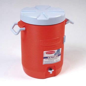 """Rubbermaid Commercial Insulated Beverage Container, 16"""" Dia. X 20 1/2H, Orange - One Beverage Container. front-587614"""