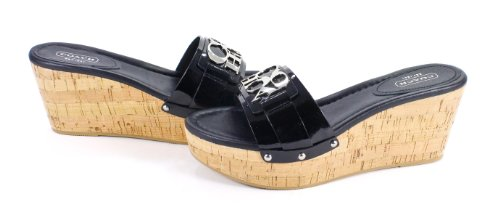 d8bb1d7e059 Coach Jen Leather Wedge Slides Sandals Black Patent Shoes