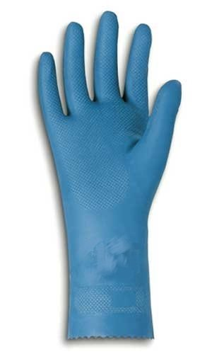 "Ansell Natural Blue 88-356 Latex Glove, Chemical Resistant, Pinked Cuff, 12"" Length, 17 mils Thick, Medium (Pack of 12 Pairs)"
