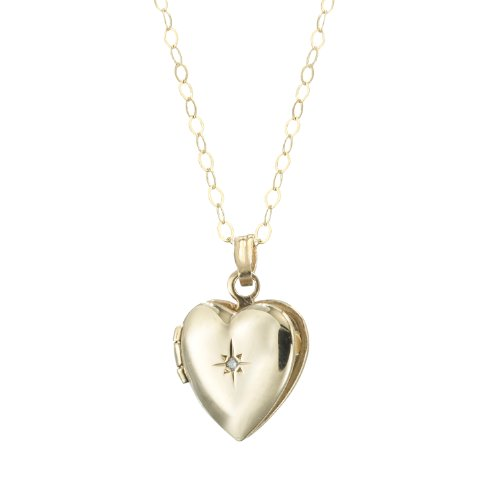 Duragold 14K Yellow Gold Child's Heart Locket with Diamond Pendant Necklace, 13