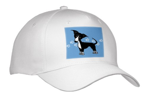 Janna Salak Designs Dogs - Cute Black Italian Greyhound Blue With Pawprints - Caps - Adult Baseball Cap