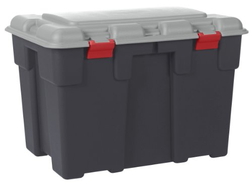 Huge 185 Litre Explorer 2 Tone Grey Plastic Storage Trunk with Big Hinged Lid. Heavy Duty Container Kids Toy Box, Garden, Garage or Shed.