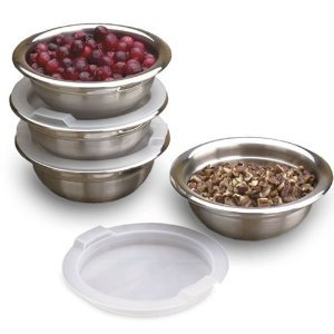 8 Piece Stainless Steel Prep Bowls Set with Lids (Stainless Steel Bowls Small compare prices)