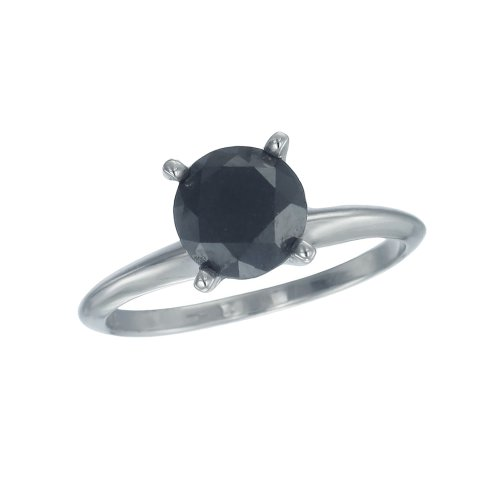4 CT Black Diamond Solitaire Ring 14K White Gold (Available In Sizes 4 - 10)