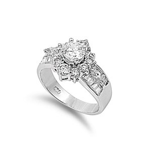 Sterling Silver Polished Engagement Promise Ring with Clear Cubic Zirconia Stones-size9