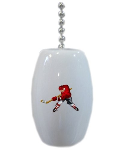Red Hockey Player Ceramic Fan Pull front-996450