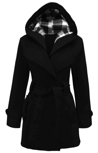 CANDY FLOSS NEW LADIES HOODED BELTED FLEECE JACKET WOMENS COAT BLACK SIZE 12