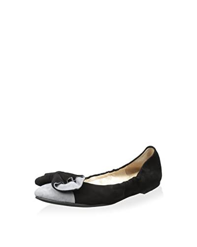 ALL BLACK Women's Block and Bows Ballet Flat