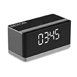 [New Release] BESTON Portable Wireless Bluetooth Speaker, 10W Output Power with Enhanced Bass, Build in Microphone for Handfree Phone Call, Alarm Clock, FM, LED Diaply fit for All Bluetooth Device