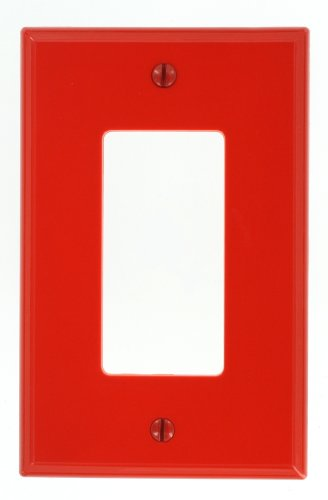 Leviton PJ26-R 1-Gang Decora/GFCI Decora Wallplate, Midway Size, Red