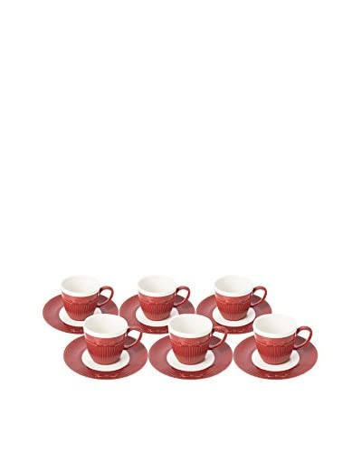 Classic Coffee & Tea by YEDI Cravatte Set of 6 Espresso Cups & Saucers, Red
