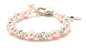 Pink Pearl Sterling Silver Christening Baby Bracelet -4.5 in