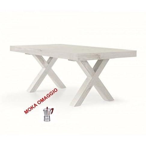 TABLES&CHAIRS tavolo bianco allungabile rettangolare in legno rovere 655 180x100x77