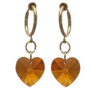Cerceau Valentine Gold Topaz AB Heart Clip On Earrings