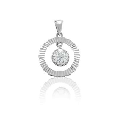Fine Necklace Pendant Jewelry Sterling Silver With Outer Open Circle Hammerd Style And Inner Circle With Clear CZ's.(WoW !With Purchase Over $50 Receive A Marcrame Bracelet Free)