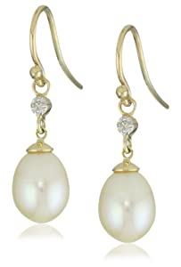10k Yellow Gold Oval Freshwater Cultured Pearl Diamond Accent Dangle Earrings