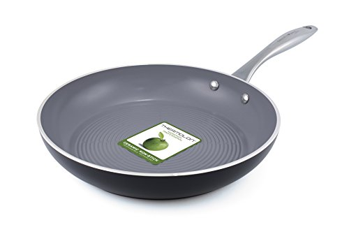 GreenPan Milan 3D I Love Meat and Poultry 12-Inch/30cm Dishwasher Safe Aluminum Open Fry Pan Coated with Grey Thermolon