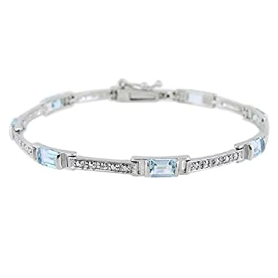 Sterling Silver Diamond Accented Emerald-Cut Blue Topaz Link Bracelet