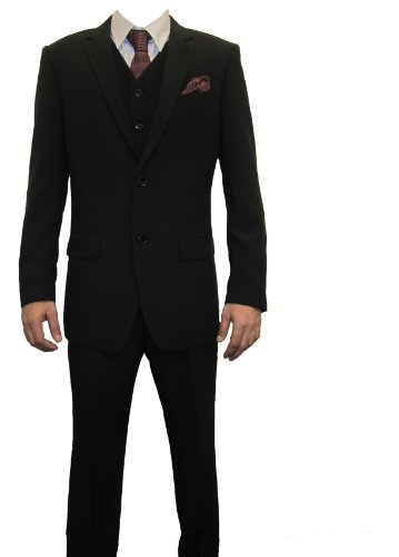 Marc Darcy Norman Mens 3PC Black Short Fit Suit, Jacket 44