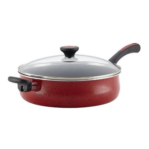 Paula Deen Riverbend Aluminum Nonstick Covered Jumbo Cooker with Helper Handle, 5 quart, Red Speckle (Paula Deen Large Skillet With Lid compare prices)