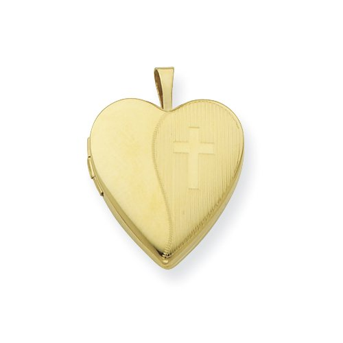 Gold Plated Sterling Silver 20mm Textured Cross Locket