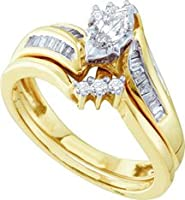 14k Yellow Gold Natural Marquise Solitaire Diamond Bridal Wedding Engagement Ring Set