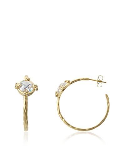 Belargo Round Stone Hoop Earrings