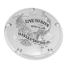 H-D Live to Ride Derby Cover - Chrome- 25372-02A