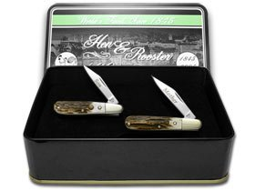 Hen & Rooster And Genuine Deer Stag Mother And Son Barlow Pocket Knife Knives Set