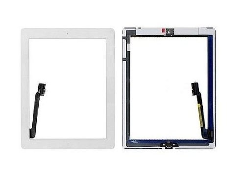 Touch Screen Digitizer - Home Button Assembly and Camera Holder Replacement Part - White for iPad 3 3rd Gen