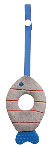 Stephan Baby Soft Plush Fishy Teether Toy With Stroller Clip, Grey And Red