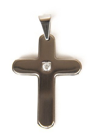Round Corner Stainless Steel Cross Pendant with C.Z.