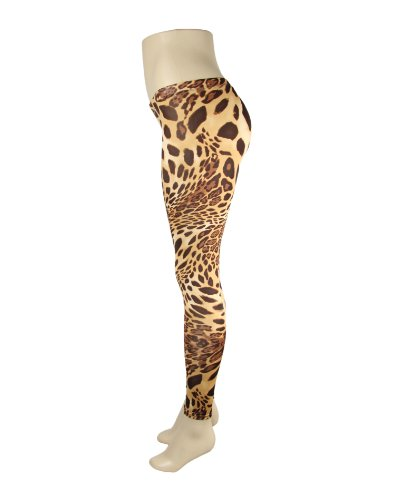 Sexy Beige Brown Cheetah Leopard Pattern Print Womens Leggings Pants Maid in Usa (SMALL)