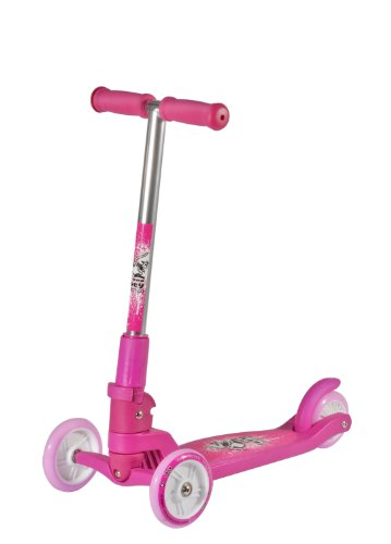 Hudora 3 Wheel Lean and Steer Folding Kick Scooter for Girls