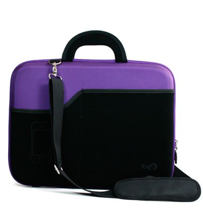 Asus 15.6 inch Notebook Laptop X53E Dark Purple Hard Nylon Case with Black Neoprene Outside Pocket for Cellphone and Accessories