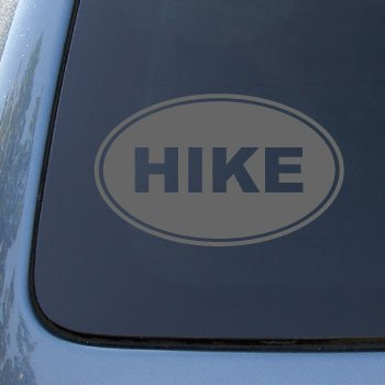 HIKE EURO OVAL - Hiking - Vinyl Car Decal Sticker #1715 | Vinyl Color: Silver