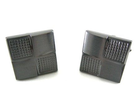 Kenneth Cole Reaction Brushed Hematite Cufflinks w/Textured Corners