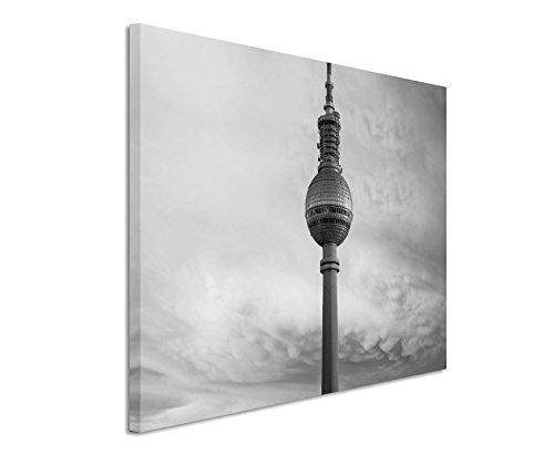 50x70cm Leinwandbild schwarz weiß in Topqualität Fernsehturm Berlin