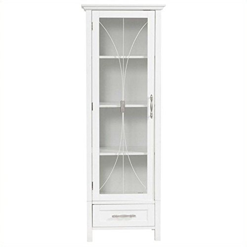 Elegant Home Delaney Linen Cabinet with 1 Door and 1 Bottom Drawer (Linen Cabinet Glass compare prices)