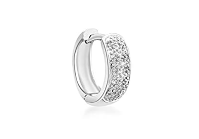 Carissima 9ct White Gold Men's Pave Set Diamond Single Huggy Earring