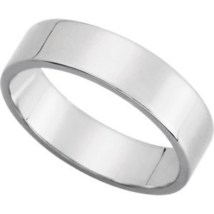 14K White Gold Flat Band:5.00 MM