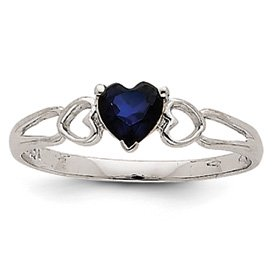 Genuine IceCarats Designer Jewelry Gift 14K White Gold Sapphire Birthstone Ring Size 6.00