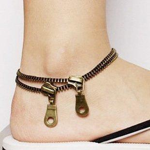 ★ ochiyo-shop ★ 2 double chain antique anklets bronze