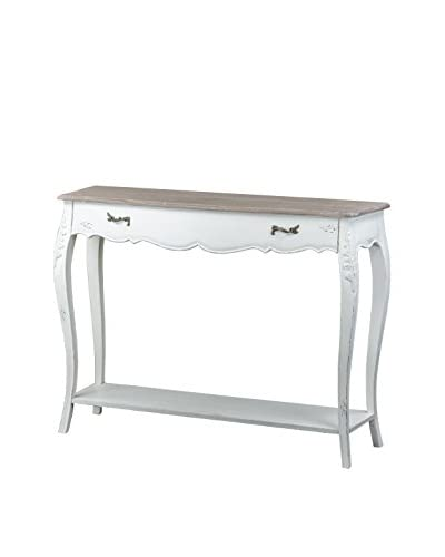 Baxton Studio Bourbonnais Traditional French Console Table, White/Light Brown
