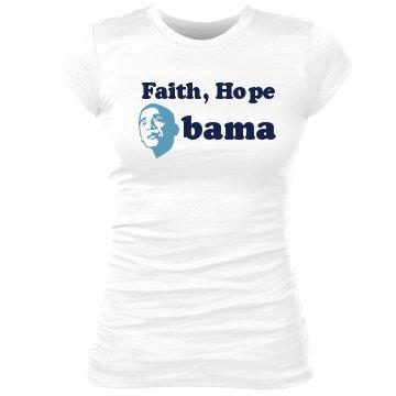Faith, Hope, Obama: Custom Junior Fit Sheer Longer Crew Neck T-Shirt