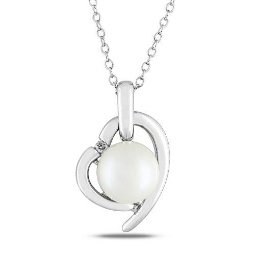 Sterling Silver 0.02 CT TDW Diamond Freshwater White Pearl Heart Pendant (G-H, I2-I3)